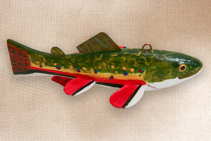 Brook Trout Fish Decoy Folk Art
