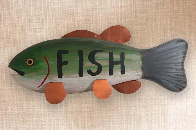 Bass Folk Art Fish Decoy Sign