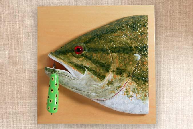 Small Mouth Bass Folk Art Fish Decoy Plaque
